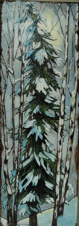 Moonlit Fir tree w_birch