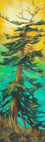 """Fir Tree"" - Acrylic 8 x 24 on canvas SOLD"
