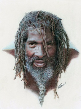 """Winner of the W. Cliff Packer Memorial Award - """"Jamaican"""" 8.5 x 11 Colored Pencil"""