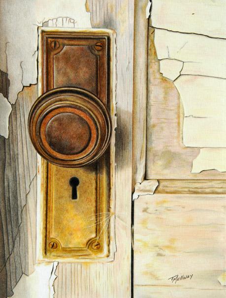 """""""Old Door"""" 8.5 x 11 Colored Pencil on Bristol Vellum"""
