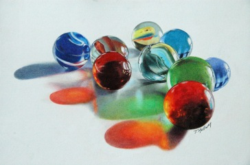 """Found my marbles"" 8.5 x11 on Bristol Vellum SOLD"