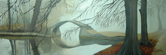 """Bridge in the Mist"" - Water-soluble oils - 8 x 24"