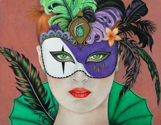 """""""Masquerade"""" 11 x 14 Coloured Pencil"""